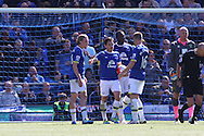 Leighton Baines of Everton (2nd l) celebrates after scoring his teams 2nd goal from the penalty spot. Barclays Premier League match, Everton v Norwich City at Goodison Park in Liverpool on Sunday 15th May 2016.<br /> pic by Chris Stading, Andrew Orchard sports photography.