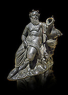 Roman Bronze sculpture of Silenus from atrium of the Villa of the Papyri in Herculaneum, Museum of Archaeology, Italy, black background ..<br /> <br /> If you prefer to buy from our ALAMY STOCK LIBRARY page at https://www.alamy.com/portfolio/paul-williams-funkystock/greco-roman-sculptures.html . Type -    Naples    - into LOWER SEARCH WITHIN GALLERY box - Refine search by adding a subject, place, background colour, etc.<br /> <br /> Visit our ROMAN WORLD PHOTO COLLECTIONS for more photos to download or buy as wall art prints https://funkystock.photoshelter.com/gallery-collection/The-Romans-Art-Artefacts-Antiquities-Historic-Sites-Pictures-Images/C0000r2uLJJo9_s0