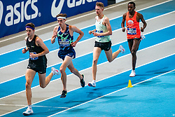 Job IJtsma, Mike Foppen, Tim Verbaandert, Filmon Tesfu in action on the 3000 meter during AA Drink Dutch Athletics Championship Indoor on 21 February 2021 in Apeldoorn.