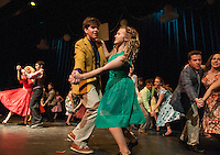 The Jets - Riff (Christian Ayer) and Graziella (Cordelia Penny) dancing with the cast of West Side Story during Wednesday evening's dress rehearsal at Gilford High School.  (Karen Bobotas/for the Laconia Daily Sun)