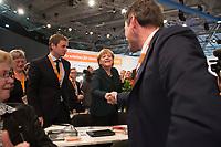 09 DEC 2014, KOELN/GERMANY:<br /> Vincent Kokert (L), CDU, Generalsekretaer der CDU Mecklenburg-Vorpommern, Angela Merkel (M), CDU, Bundeskanzlerin, und Dietrich Wersich, MdHB, Fraktionsvorsitzender der CDU Fraktion in der Hamburger Buergerschaft und Spitzenkandidat der Hamburger CDU fuer die Buergerschaftswahl 2015, nach der bekanntgabe des Wahlergebnisses von Merkel zur Bundesvorsitzenden der CDU, CDU Bundesparteitag, Messe Koeln<br /> IMAGE: 20141209-01-096<br /> KEYWORDS: Party Congress, Gratulation