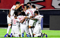 SAO PAULO, BRAZIL - FEBRUARY 25: Luciano of Sao Paulo FC celebrates with his team mates after scoring his goal ,during the Brasileirao Serie A 2020 match between Sao Paulo FC and CR Flamengo at Morumbi Stadium on February 25, 2021 in Sao Paulo, Brazil. (Photo by MB Media/BPA)