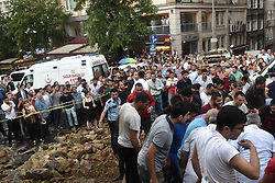 July 27, 2017 - °Stanbul, Turkey - Wall of Armenian cemetery, located in Kurtulus neighbourhood, collapses due to heavy torrential rains in Sisli district of Istanbul, Turkey on July 27, 2017. (Credit Image: © Depo Photos via ZUMA Wire)