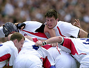 Twickenham. England. RFU Stadium, Surrey. <br /> Photo Peter Spurrier25/05/2003<br /> 2003 - Rugby - England v Barbarians.<br /> martin Corry keeps an eye on the ruck.         [Mandatory Credit: Peter SPURRIER/Intersport Images]