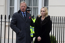 © Licensed to London News Pictures. 11/04/2013. London, UK.  Mark Thatcher, son of former British Prime Minister Margaret Thatcher with his wife Sarah Russell outside his mothers Chester square house London on 11 April 2013..Photo credit : Peter Kollanyi/LNP