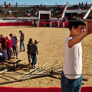 Preparations of the forcão, the bug wooden frame, for the afternoon bullfight