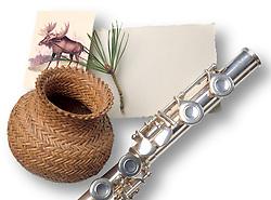 Flute,basket,moose pine branch