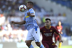 ROME, Oct. 21, 2018  Spal's Thiago Cionek (L) vies for the ball during an Italian Serie A soccer match between AS Roma and Spal in Rome, Italy, Oct. 20, 2018. Spal won 2-0. (Credit Image: © Augusto Casasoli/Xinhua via ZUMA Wire)