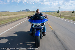 Jackyl's Jesse James Dupree leads a HOG ride out from the Full Throttle Saloon on a custom Harley-Davidson Road Glide during the Sturgis Motorcycle Rally. SD, USA. Thursday, August 12, 2021. Photography ©2021 Michael Lichter.