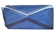 rectangular wrinkled blue security envelope empty