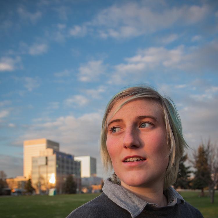 Film maker Emma Sheffer on the Delaney Park Strip, Anchorage  emmasheffer@gmail.com