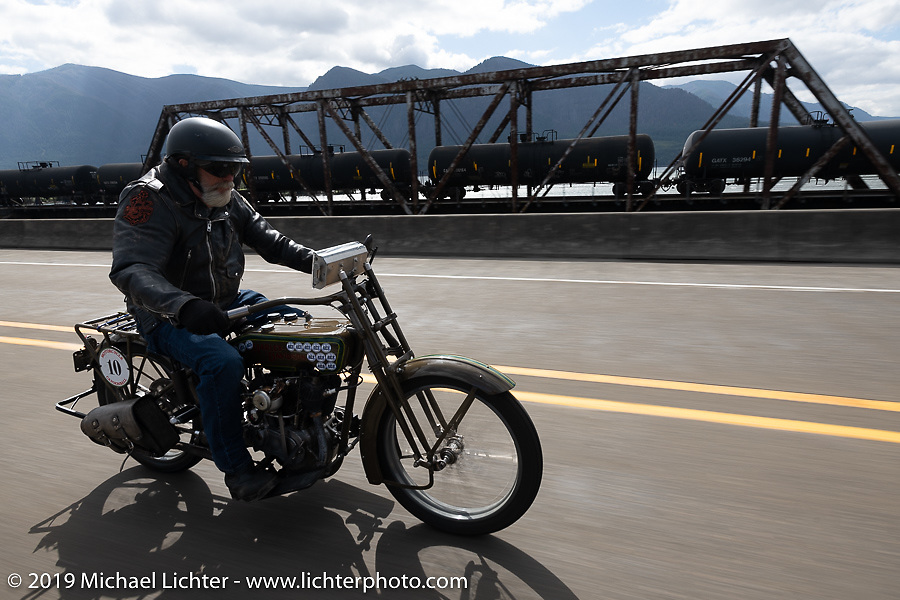 Bill Page riding his 1915 Harley-Davidson Model J along the Columbia River on the Motorcycle Cannonball coast to coast vintage run. Stage 15  (51 miles - the Grand Finish) from The Dalles to Stevenson, OR. Sunday September 23, 2018. Photography ©2018 Michael Lichter.