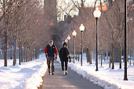 Goshen, N.Y. - A man and a woman walk down a tree-lined sidewalk on a winter afternoon. March 4, 2006.