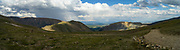 Panoramic view of Mosquito Pass in the Rocky Mountains, looking eastward toward Fairplay, Colorado, USA.