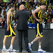 Fenerbahce's Darjus LAVRINOVIC (R) and Omer ONAN (L) during their Turkish Basketball Legague Play-Off final fifth match Fenerbahce between Galatasaray at the Sinan Erdem Arena in Istanbul Turkey on Tuesday 14 June 2011. Photo by TURKPIX
