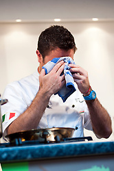 Celebrity Chef Gino DÕAcampo performs a live cookery demonstration in Meadowhall Oasis food court..7 April 2011.Images © Paul David Drabble