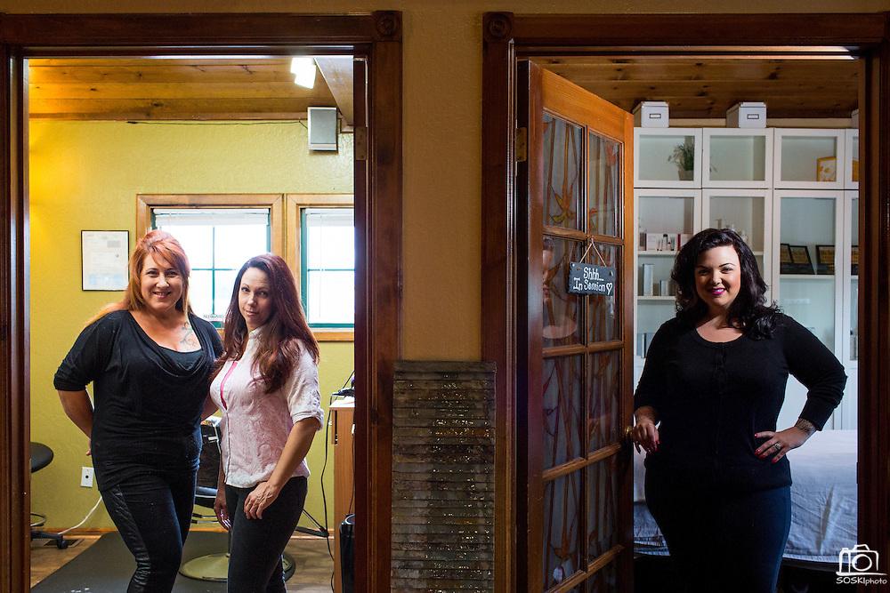 Chava Pelo Salon owner Bobbie Chavarria, left, and associates pose for a portrait at Chava Pelo Salon in Milpitas, California, on July 19, 2015. (Stan Olszewski/SOSKIphoto)