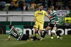 February 14, 2019 - Lisbon, Portugal - Alfonso Pedraza of Vilarreal (C) vies for the ball with Bruno Fernandes of Sporting (L) and Stefan Ristovski of Sporting (R)  during UEFA Europa League football match between Sporting CP vs Villarreal CF, in Lisbon, on February 14, 2018. (Credit Image: © Carlos Palma/NurPhoto via ZUMA Press)
