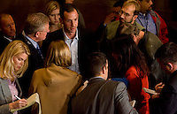 HARTFORD, CT - 02 NOVEMBER 2010 -.Roy Occhiogrosso, Dan Malloy's senior campaign advisor, speaks to members of the media at the Society Room in Hartford, where supporters of Tuesday's Democratic candidates gathered on Tuesday night..Photo by Josalee Thrift
