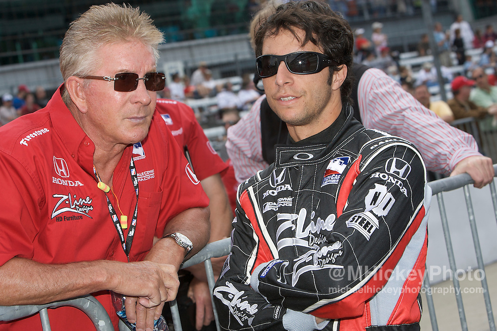 Indy Car driver Bruno Junqueira seen in the pits during qualifications for the Indy 500. Photo by Michael Hickey