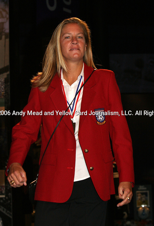28 August 2006: Hall of Famer Carin Jennings-Gabarra. The National Soccer Hall of Fame Induction Ceremony was held at the National Soccer Hall of Fame in Oneonta, New York.