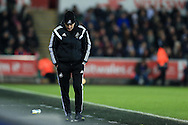 Swansea city head coach Francesco Guidolin looks on.Barclays Premier league match, Swansea city v Aston Villa at the Liberty Stadium in Swansea, South Wales on Saturday 19th March 2016.<br /> pic by  Andrew Orchard, Andrew Orchard sports photography.
