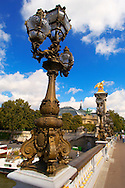 Paris - France - Pont Alexadre 111 - Lamps .<br /> <br /> Visit our FRANCE HISTORIC PLACES PHOTO COLLECTIONS for more photos to download or buy as wall art prints https://funkystock.photoshelter.com/gallery-collection/Pictures-Images-of-France-Photos-of-French-Historic-Landmark-Sites/C0000pDRcOaIqj8E