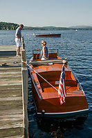 1928 22' Chris Craft Runabout at the dock during the annual Antique Boat Show in Wolfeboro, NH.  ©2018 Karen Bobotas Photographer