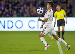 April 21, 2018 - Orlando, FL, U.S. - ORLANDO, FL - APRIL 21: San Jose Earthquakes midfielder Shea Salinas (6) chest traps the ball during the MLS soccer match between the Orlando City FC and the San Jose Earthquakes at Orlando City SC on April 21, 2018 at Orlando City Stadium in Orlando, FL. (Photo by Andrew Bershaw/Icon Sportswire) (Credit Image: © Andrew Bershaw/Icon SMI via ZUMA Press)