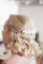 Close-up of a bride with flowers in hair, Fuerstenfeldbruck, Bavaria, Germany