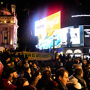 Unite Against Fascism hosts with mutiply anti-fascist group also Italian to Stop the Fascist Salvini brings #coronavirus to London in Piccadilly Circus on 3 March 2020, UK.