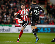 John Lundstram of Sheffield Utd  tackles Ondrej Duda of Norwich City  during the Premier League match at Bramall Lane, Sheffield. Picture date: 7th March 2020. Picture credit should read: Simon Bellis/Sportimage