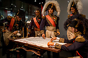Waxwork models of Napoleon's generals (incl Marechal Soult, centre), re-enact the night before the Battle of Waterloo forming an exhibit inside the Memorial 1815 exhibition at the battlefield, on 25th March 2017, at Waterloo, Belgium. Inaugurated on the battle's bicentenary, visitors experience the history of Napoleonic Europe and the armies of both the French and allied armies on that day. The Battle of Waterloo was fought 18 June 1815. A French army under Napoleon Bonaparte was defeated by two of the armies of the Seventh Coalition: an Anglo-led Allied army under the command of the Duke of Wellington, and a Prussian army under the command of Gebhard Leberecht von Blücher, resulting in 41,000 casualties.