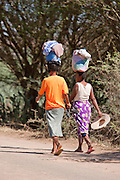 Local women walking towards Amboasary Sud, near the Berenty Reserve, Madagascar