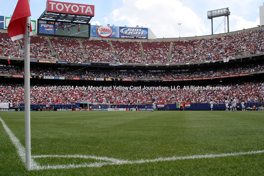 31 July 2004: 74,511 fans watch the start of the second half. AC Milan of Italy's La Liga defeated Manchester United of the English Premier League 9-8 on penalties after the teams played to a 1-1 draw at Giants Stadium in the Meadowlands Complex in East Rutherford, NJ in a ChampionsWorld Series friendly match..