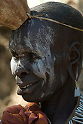 Old Woman with face painted, Mursi Tribe, Mago National Park, Lower Omo Valley, Ethiopia, portrait, person, one, tribes, tribal, indigenous, peoples, Southern, ethnic, rural, local, traditional, culture, primitive,