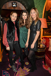 Left to right, TESS WARD, SARAH ANN MACKLIN and ERIN FEE at the launch of GP Nutrition held at Annabel's, 44 Berkeley Square, London on 26th January 2016.