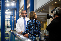 © Licensed to London News Pictures. 01/10/2018. Birmingham, UK. Conservative MP JAMES CLEVERLY being interviewed at day two of the 2018 Conservative Party autumn conference at the ICC in Birmingham. This years event is focused heavily on Brexit and negotiations with the EU over the UK's exit form the European Union. Photo credit: Ben Cawthra/LNP