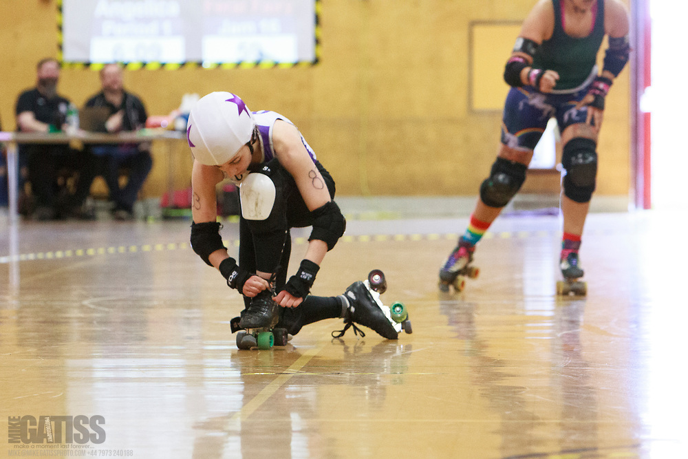 Rainy City Revolution take on Manchester Roller Derby's Checkerbroads in the Tier 1 Womens North British Champs at Kingsway Leisure Centre, Widnes, Cheshire, United Kingdom 2020-02-29
