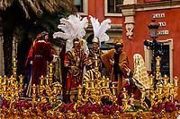 A paso (float) in the procession of the Brotherhood (Hermandad) San Bernardo, Holy Week (Semana Santa), Seville, Andalusia, Spain.