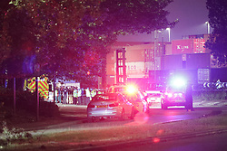 © Licensed to London News Pictures. 31/05/2018. Trafford, UK. The scene at Europa Way in Trafford Park, Greater Manchester, where a hit and run driver collided with pedestrians this evening. Photo credit: Joel Goodman/LNP
