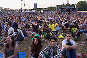 In Hyde park, Central London, Olympic fans watch the final of the mens 1500m