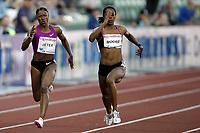 Friidrett, 4. juni 2010,  Diamond League , Bislett Games Oslo<br /> <br /> <br /> Lashauntea Moore , winner 200 m and Carmelita Jeter , USA