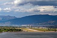 View of Penticton Regional Airport and Skaha Lake in Penticton, British Columbia, Canada