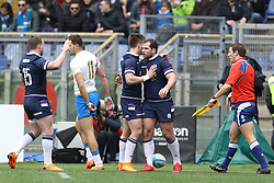 March 17, 2018 - Rome, RM, Italy - Fraser Brown of Scotland celebrate the first point during the Six Nations 2018 match between Italy and Scotland at Olympic Stadium on March 17, 2018 in Rome, Italy. (Credit Image: © Danilo Di Giovanni/NurPhoto via ZUMA Press)