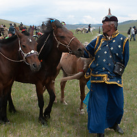 A father tends to his family's horses after his costumed children rode  bareback in a 20km race at a traditional naadam festival on a remote pass in Arbulag Sum, near Muren in Hovsgol Aimag, Mongolia.