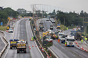 Works by Highways England to convert the M4 into a smart motorway are pictured during a weekend closure between Junctions 5 and 6 on 20th June 2021 in Langley, United Kingdom. All lane running motorways, including those such as the M4 currently under construction, will require radar technology to detect stopped cars.