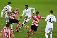 Leroy Fer of Swansea city © looks for a way through the midfield. Premier league match, Swansea city v Southampton at the Liberty Stadium in Swansea, South Wales on Tuesday 31st January 2017.<br /> pic by  Andrew Orchard, Andrew Orchard sports photography.