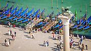 Gondolas and tourists in Piazza San Marco (St. Mark's Square), Venice, Veneto, Italy