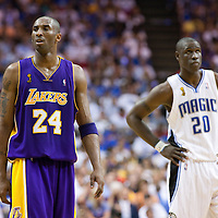 14 June 2009: Kobe Bryant of the Los Angeles Lakers is seen next to Mickael Pietrus of Orlando Magic during game 5 of the 2009 NBA Finals won 99-86 by the Los Angeles Lakers over the Orlando Magic at Amway Arena, in Orlando, Florida, USA. Kobe Bryant scores 30 points and leads the Lakers to15th Championship.
